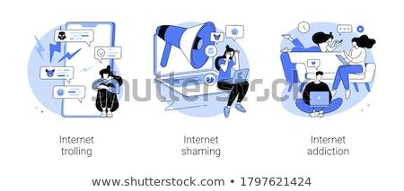 интернет Троллинг пользователь онлайн таблетка лице Сток-фото © RAStudio