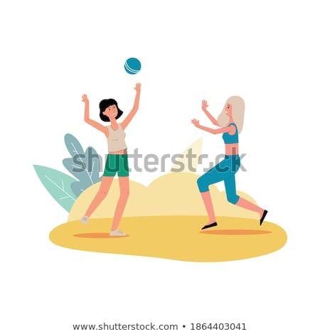 漫画 笑みを浮かべて ビーチ バレーボール プレーヤー 女性 ストックフォト © cthoman