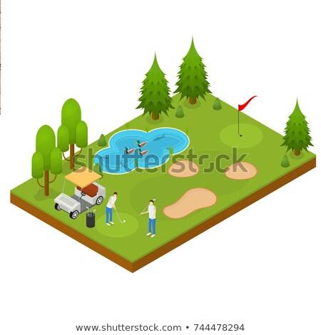 ゴルフコース アイソメトリック 風景 穴 フラグ ボール ストックフォト © Andrei_