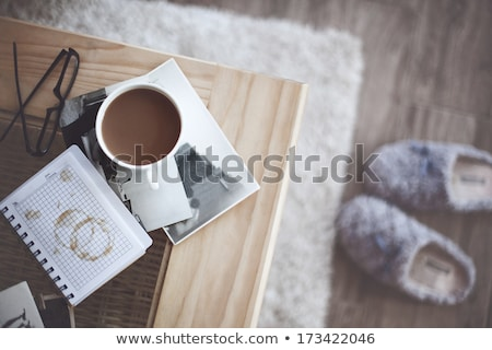 coffee still life from a cup of black coffee on a wooden table stock photo © mizar_21984