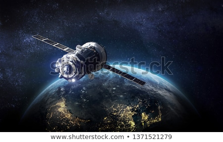 Astronaut and spaceship in galaxy Stock photo © colematt