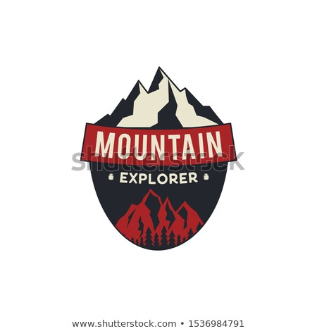 mountain explorer badge camping adventure emblem in retro colors style featuring mountains and for stock photo © jeksongraphics