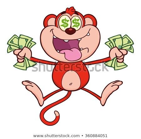 Bogate czerwony małpa skoki pieniężnych Zdjęcia stock © hittoon