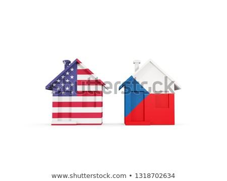 Dos casas banderas Estados Unidos República Checa aislado Foto stock © MikhailMishchenko