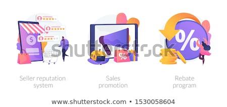 Venditore minuscolo persone clienti online programma Foto d'archivio © RAStudio