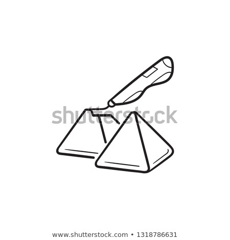 3d doodler pen and pyramids hand drawn outline doodle icon stock photo © rastudio