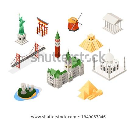 European landmarks - colorful isometric set of objects Stock photo © Decorwithme