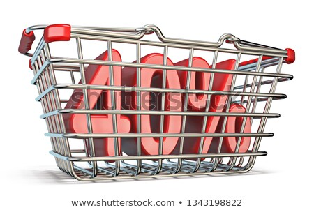 steel shopping basket 40 percent sign 3d stock photo © djmilic