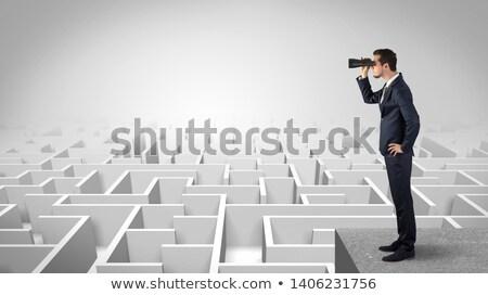 işadamı · ayakta · giriş · labirent · el · çizim - stok fotoğraf © ra2studio