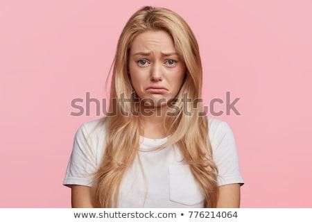 Portré gyönyörű megrémült fiatal nő visel piros Stock fotó © deandrobot