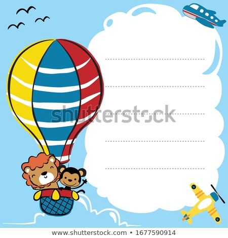 Border template with happy monkey and colorful balloons Stock photo © colematt