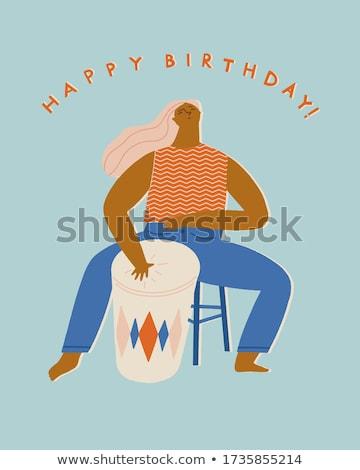 Stock photo: Funny vector dancing woman. Cute jazz card.