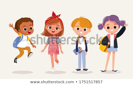 the cute preschoolers group in kindergarten together stock photo © lopolo