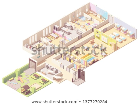 Stock photo: Vector isometric infant and toddler daycare classroom