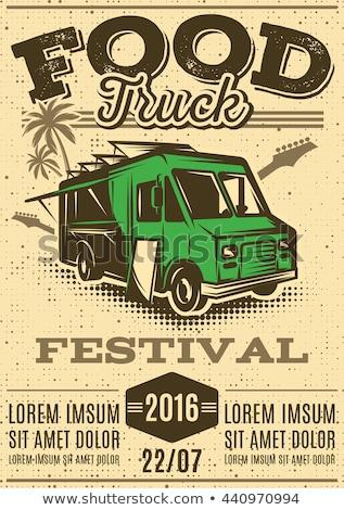 Street food ciężarówka festiwalu plakat żywności banner Zdjęcia stock © artisticco