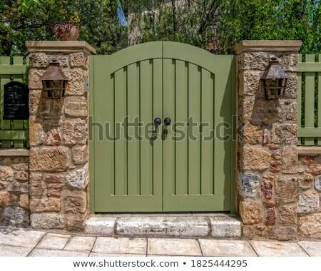 Entree gesloten deuropening woon- verstedelijking weelderig Stockfoto © amok