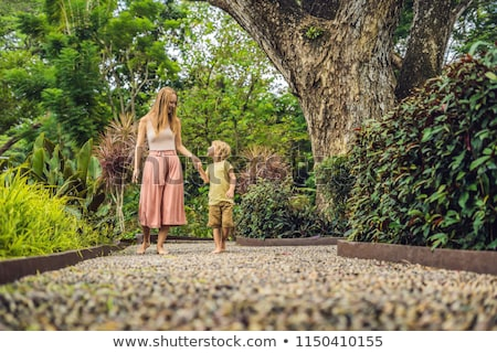 Stock photo: Mother and son Walking On A Textured Cobble Pavement, Reflexology. Pebble stones on the pavement for