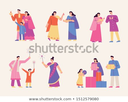indian character celebrating diwali set vector stock photo © pikepicture