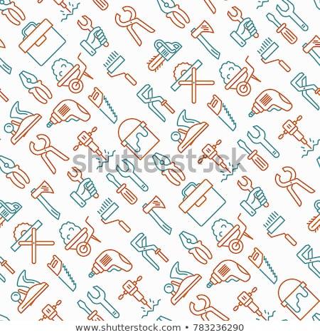 Pracy narzędzia ikona przybornik wiercenia klucz Zdjęcia stock © Winner