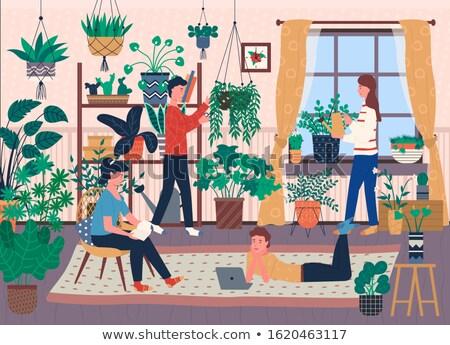 Domu pełny roślin zieleń wektora Zdjęcia stock © robuart