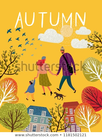 people in autumn park family walking around trees stock photo © robuart