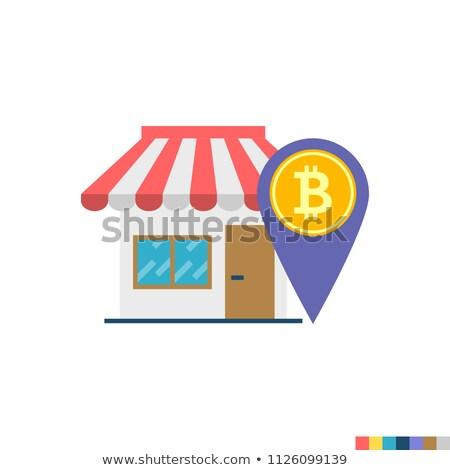 Bitcoin здесь икона вектора стиль банка Сток-фото © MarySan