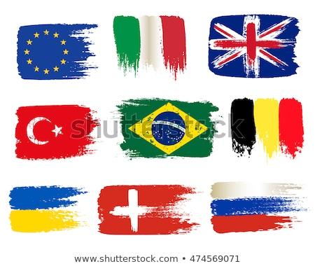 Kéz zászló szett európai zászlók szív Stock fotó © butenkow