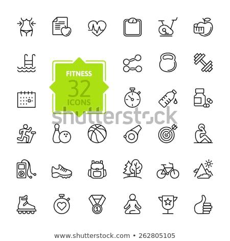zdrowych · manierka · wektora · podpisania · cienki · line - zdjęcia stock © pikepicture