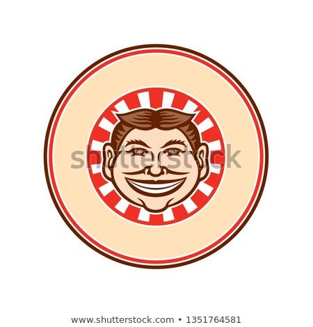Grinning Funny Face Mascot Circle Retro Stock photo © patrimonio