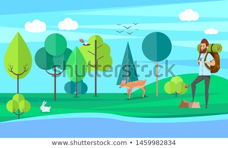 Hiker Traveling, Wild Animal, Sporty Hobby Vector Stock photo © robuart