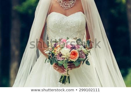 belo · noiva · monte · flores · em · pé · janela - foto stock © ruslanshramko