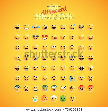 vector · iconos · caras · blanco · sonrisa - foto stock © cienpies