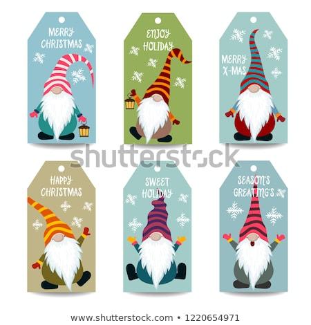 Szczęśliwy gnom przedstawia christmas plakat Zdjęcia stock © balasoiu