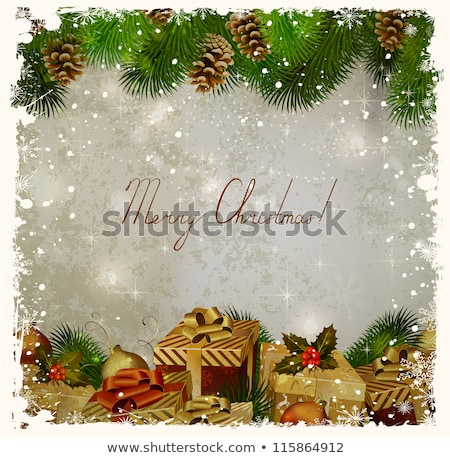 beautiful Christmas card with tree branches and wishes Stock photo © balasoiu