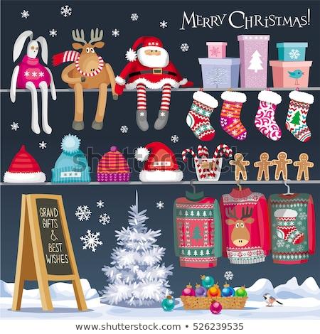 Christmas verkoop poster gingerbread man reclame business Stockfoto © balasoiu