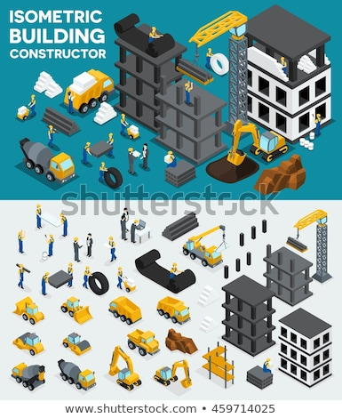 Excavator and Workers Carrying Heavy Construction Stock photo © robuart