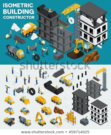 Excavadora trabajadores pesado construcción vector Foto stock © robuart
