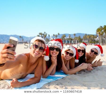 Menina adolescente célula Veneza praia tecnologia pessoas Foto stock © dolgachov