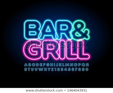 BBQ grill neon grill promocji strony Zdjęcia stock © Anna_leni