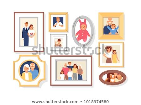 Casamento casal colorido photo frame vetor Foto stock © robuart