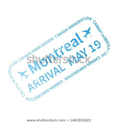 Montreal International travel visa stamp on white. Arrival sign cyan rubber stamp with texture Stock photo © evgeny89