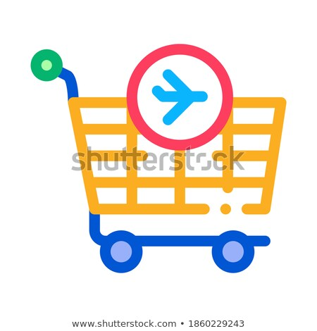 trolley for duty free products icon vector outline illustration Stock photo © pikepicture