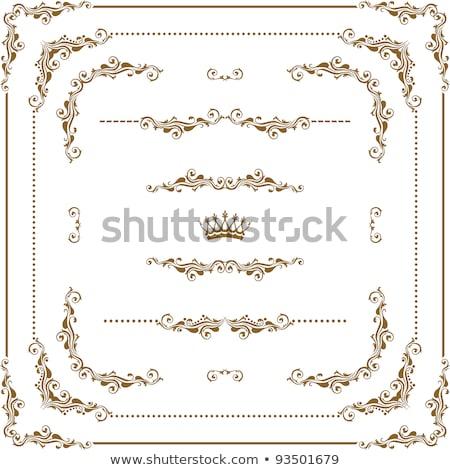 Decorative calligraphic ornamental corner border and frame in gold Stock photo © blue-pen