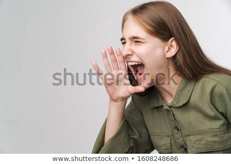 Foto rabbioso donna urlando Foto d'archivio © deandrobot