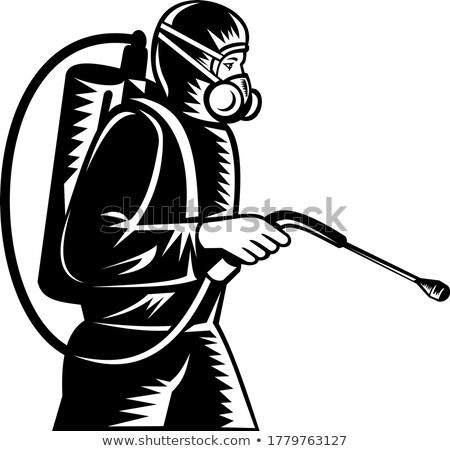 Pest Control Exterminator Spraying Side Retro Woodcut Black and White Stock photo © patrimonio