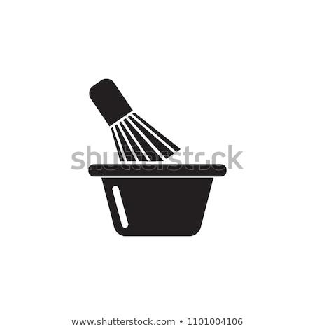 Brosse isolé blanche équipement hygiène personnelle icône Photo stock © robuart