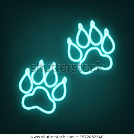 Dier voetafdruk neonreclame huisdier promotie voedsel Stockfoto © Anna_leni