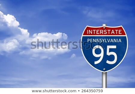 Philadelphia · autópálya · tábla · zöld · Pennsylvania · USA · felhő - stock fotó © kbuntu