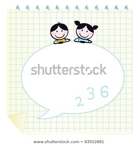 doodle school children with notepad and blank speech bubble stock photo © lordalea