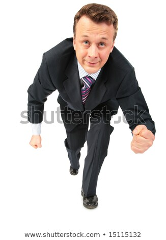 businessman runs having compressed fists Stock photo © Paha_L